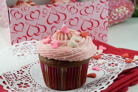 Chocolate Cupcakes with Strawberry Mousse Filling