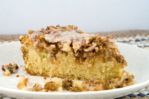 Overnight Crumble Coffee Cake with Vanilla Drizzle