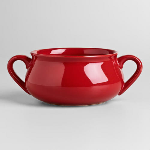 Red Double Handled Soup Bowl | shopafoodieaffair.com