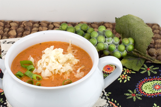Tomato Soup with Roasted Garlic, Basil and Asiago Cheese | afoodieaffair.com