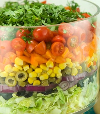 Seven Layer Salad with Creamy Salsa Dressing | afoodieaffair.com