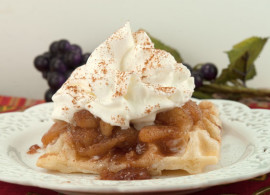 Caramelized Apple with Puff Pastry Waffles | afoodieaffair.com