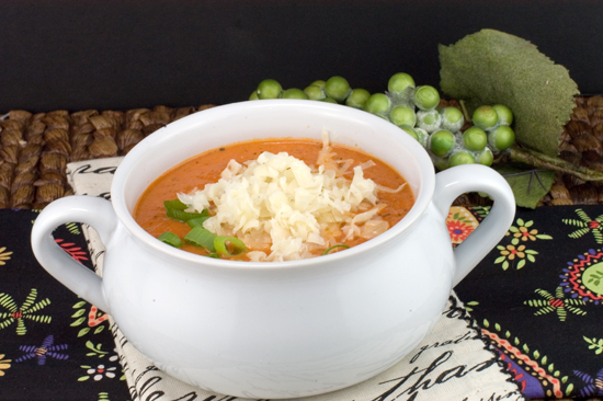 Tomato Soup with Roasted Garlic, Basil and Asiago Cheese